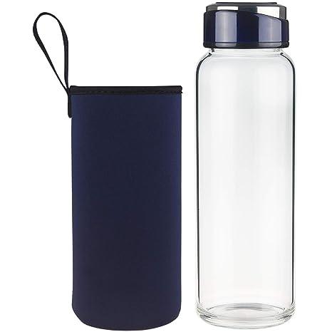 SHBRIFA Botella de Agua de Vidrio de Borosilicato 1000ml ...
