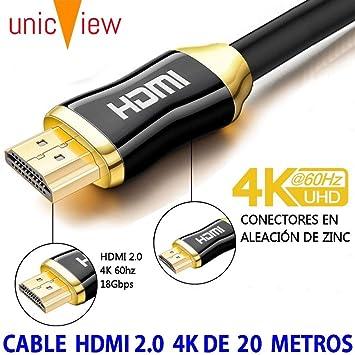 Cable HDMI 2.0 de 20 Metros 4K Ultra HD Marca Unicview | Alta Velocidad con Ethernet