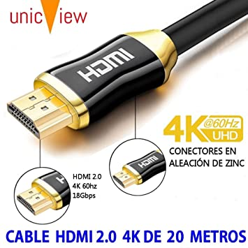 Cable de HDMI 2.0 4K Ultra HD Marca Unicview | Alta Velocidad con Ethernet | Full HD 1080p/4K Ultra HD 2160p/3D/ARC y CEC | Triple blindaje Compatible ...