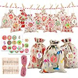 Christmas Advent Calendar Linen Small Bags, 24 Days Burlap Hanging Advent Calendars Garland Drawstring Gifts Bags Party Filler Christmas Countdown Decorations with Advent Numbers Stickers, Clips, Rope