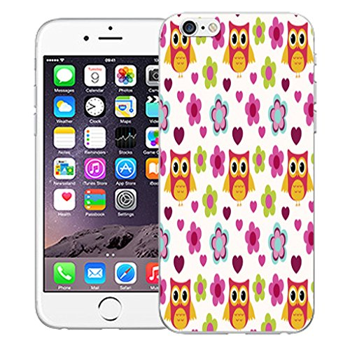 """Mobile Case Mate iPhone 6 Plus 5.5"""" Silicone Coque couverture case cover Pare-chocs + STYLET - Floral Owls pattern (SILICON)"""