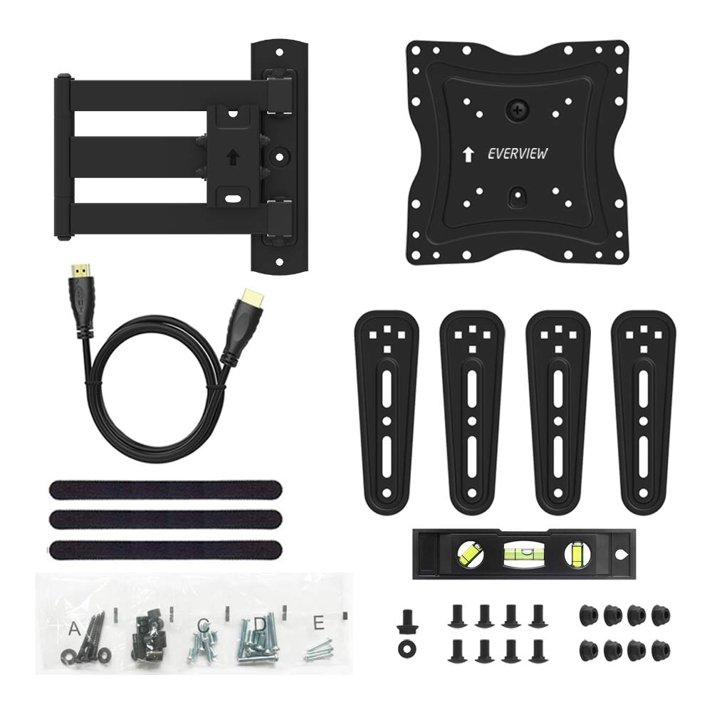 TV Wall Mount Bracket fits to Most 26-55 inch LED,LCD,OLED Flat Panel TVs, Tilt Full Motion Swivel Articulating Arms, TV Bracket VESA 400X400, 77lbs Loading with HDMI Cable, Cable Ties EVERVIEW by EVERVIEW (Image #7)
