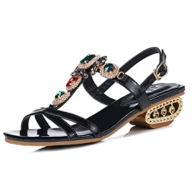 9d4b7a5cae75 Women s Block Low Mid Heel Open Toe Sparkling Glitter Rhinestone Wedding  Party Dress Sandal Black