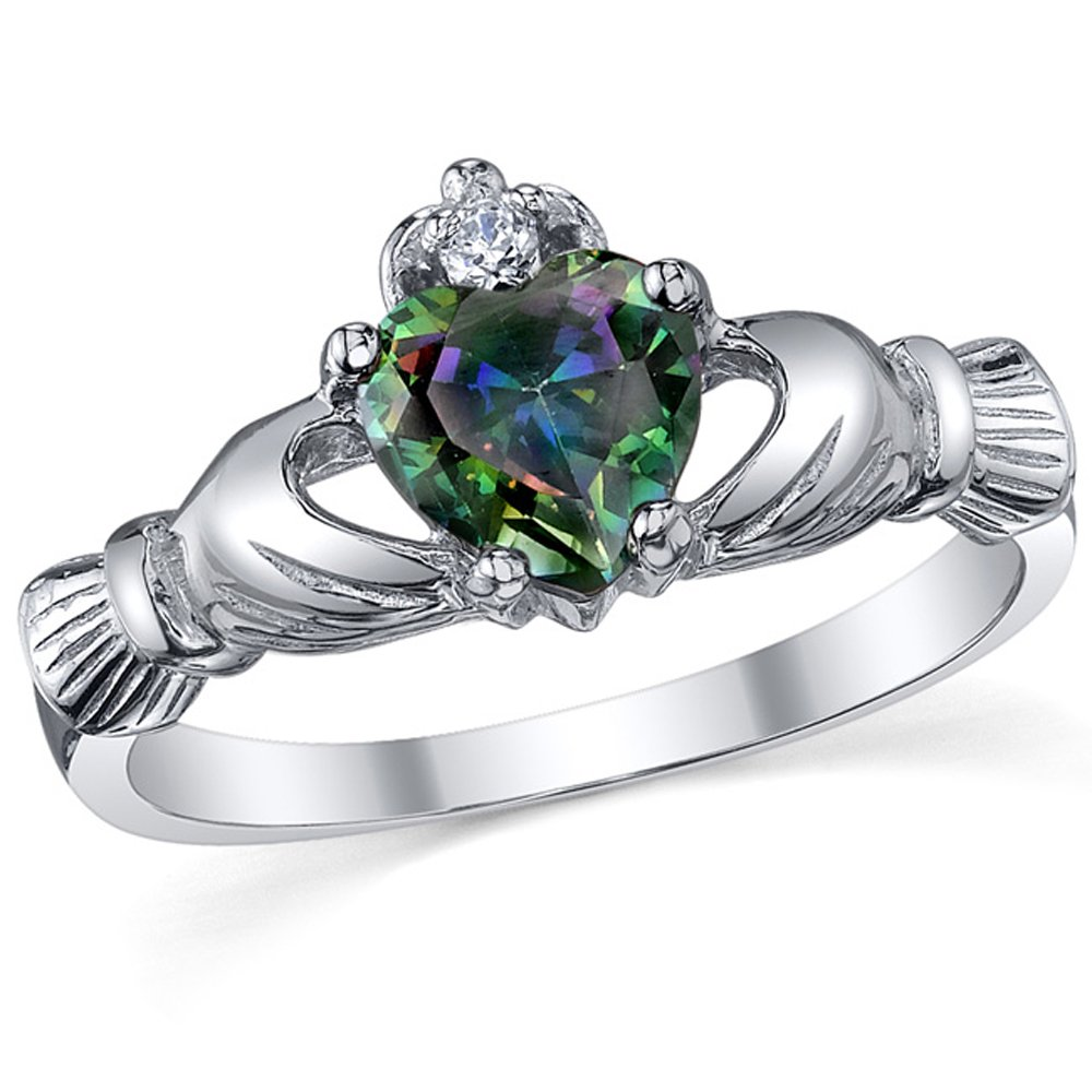 Sterling Silver 925 Irish Claddagh Friendship & Love Mystic Rainbow Simulated Topaz Color Heart Cubic Zirconia Ring SILRX36