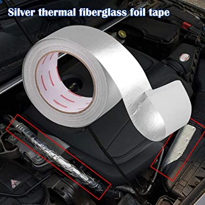 Sporacingrts 2 Inch x 82 Feet(25M) Exhaust Header Wrap Heat Shield Adhesive Backed Silver: Automotive