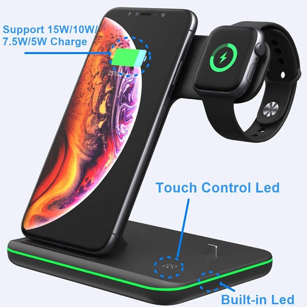 3 In 1 Caricabatterie Wireless Qi Per Iphone 11 Xs Xr X 8 Samsung S10 15w Dock Di Ricarica Rapida Per Airpods Apple Watch 5 4 3 2 Supporto Tipo A Nero 15W Tipo A Nero 15w