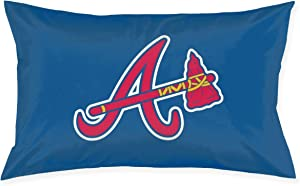 Franklin Sports Atlanta Braves Pillowcase with Hidden Zipper 1 Pack Queen Size Pillow Case for Sleeping Or Living Room Decoration