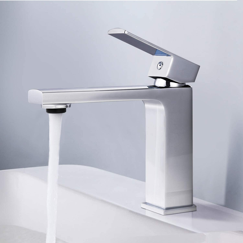 Grifo de Lavabo, Grifo de Baño TACKLIFE, Grifo de Latón con Diseño Modernista de Agua Fría y Caliente, Aireador Ecológico Que Ahorra Hasta un 30% de Agua, DBWF01JD