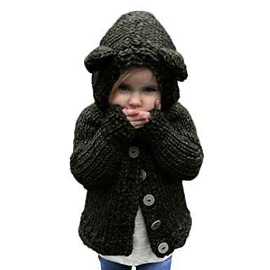 dc5f17292ed129 Toddler Little Girls Sweater Hooded Knit Pullovers Cardigan Warm Coat  Clothes (1Years