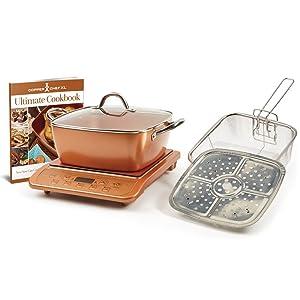"""Copper Chef XL 11"""" Casserole 5 pc Set & Induction Cooktop (Casserole 5pc Set with Black Induction Cooker)"""