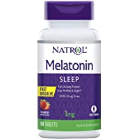 Natrol Melatonin Fast Dissolve Tablets, Helps You Fall Asleep Faster, Stay Asleep Longer, Easy to Take, Dissolves in Mouth, Faster Absorption, Maximum Strength, Strawberry Flavor, 1mg, 90Count