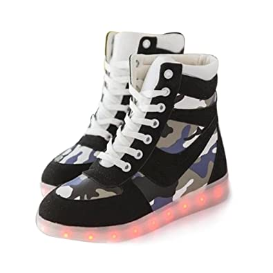 cb80f5db8fe Amazon.com | Led Light Up Shoes for Mens Womens High Top Flashing  Rechargeable Sneakers | Fashion Sneakers