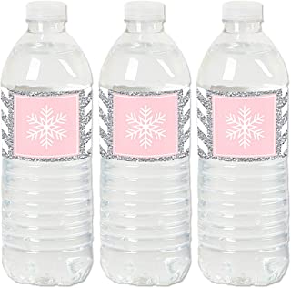 product image for Big Dot of Happiness Pink Winter Wonderland - Holiday Snowflake Birthday Party and Baby Shower Water Bottle Sticker Labels - Set of 20