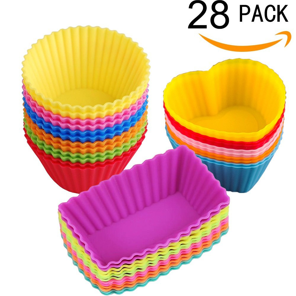 Silicone Baking Cups Muffin Cups Liners Molds Sets in Storage
