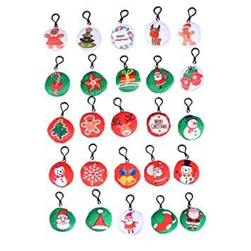 Amazon.com: Toyvian 25pcs Christmas Plush Keychain Keyrings ...