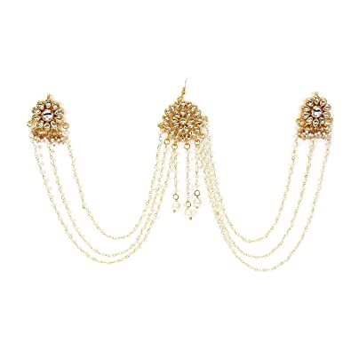 dfbd6b784 Abhaah bahubali Inspired Triple Layer/Hair kundan Stud Earrings with Brooch  Juda pin Hair Decoration