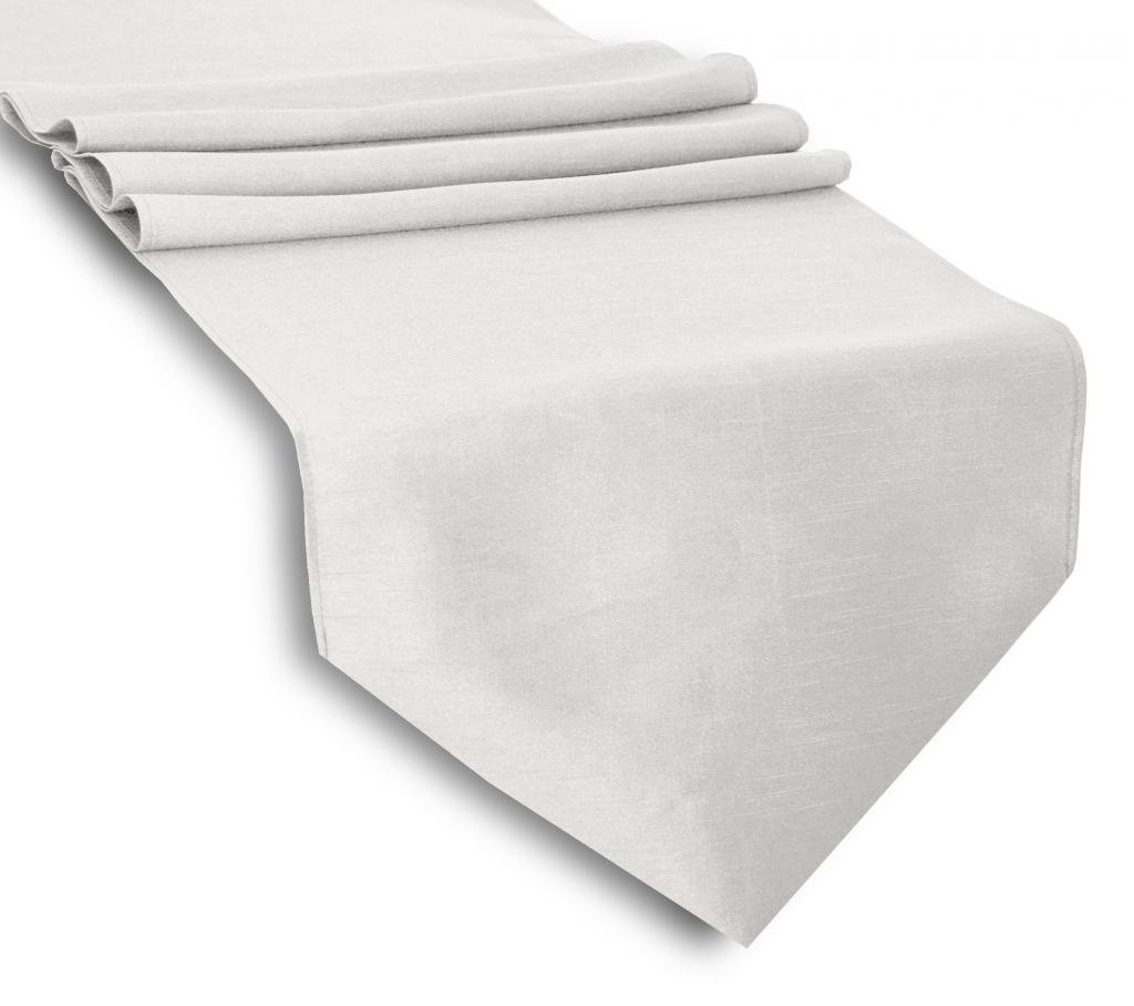 Aiking Home (Pack of 6)13''x 108''-Solid & Unlined Classic Faux Silk Table Top Runner, White--Perfect for Party Decor, Baby Shower ,Wedding, Thanksgiving, Christmas or any Special Event