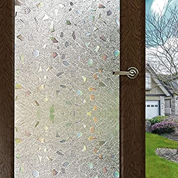 WPT 3D Window Films Self-adhesive Frosted Semi-Private Static Cling for Home Bedroom Bathroom Glass (17.7 X 78.7 Inches)