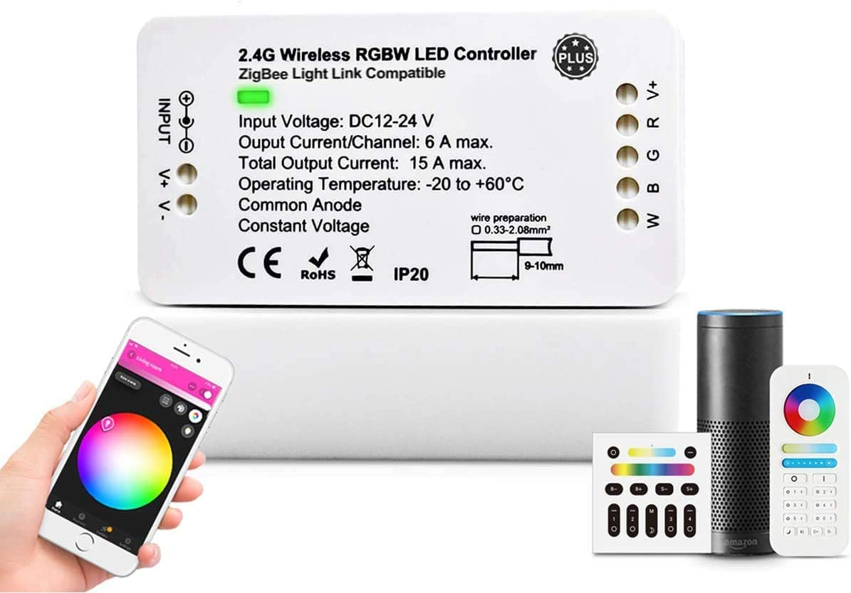 Zigbee Controller Smart LED Strip Light Controller RGBW WW Dimmable Controller, DC12-24V, 6A Max/Channel, Works with Hue Alexa,APP Control (RGBW)