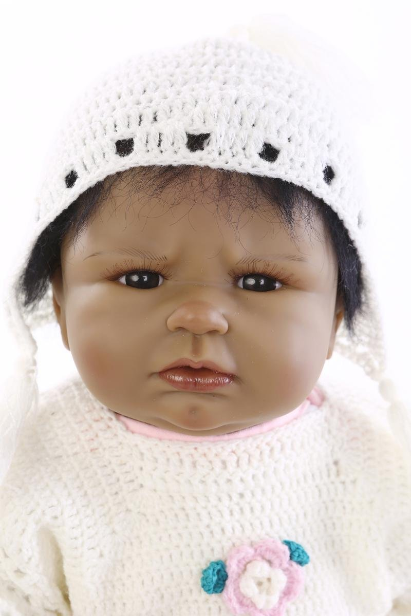 Funny House Black Skin 55cm 22 Inch Real Lifelike Reborn Baby Dolls American Native Realistic Very Soft Silicone Newborn Doll Indian Style Toy Girl Free Magnet Pacifier RBB Dolls