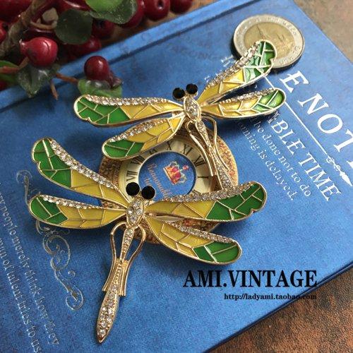 Thin wing about retro drip enamel dragonfly brooch pin fine diamond dragonfly brooch pin enamel glazes yellow-Mei