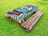 Ambesonne Retro Outdoor Tablecloth, Vintage Graphic Design for a Car Wash Sign Commercial with Aged Classic Retro Arsty, Decorative Washable Picnic Table Cloth, 58 X 104 Inches, Red Teal