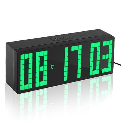 Fdit Relojes LED Digital Grande con Alarmas Despertadores Electrónicos Reloj con Controlador Remoto (Azul/