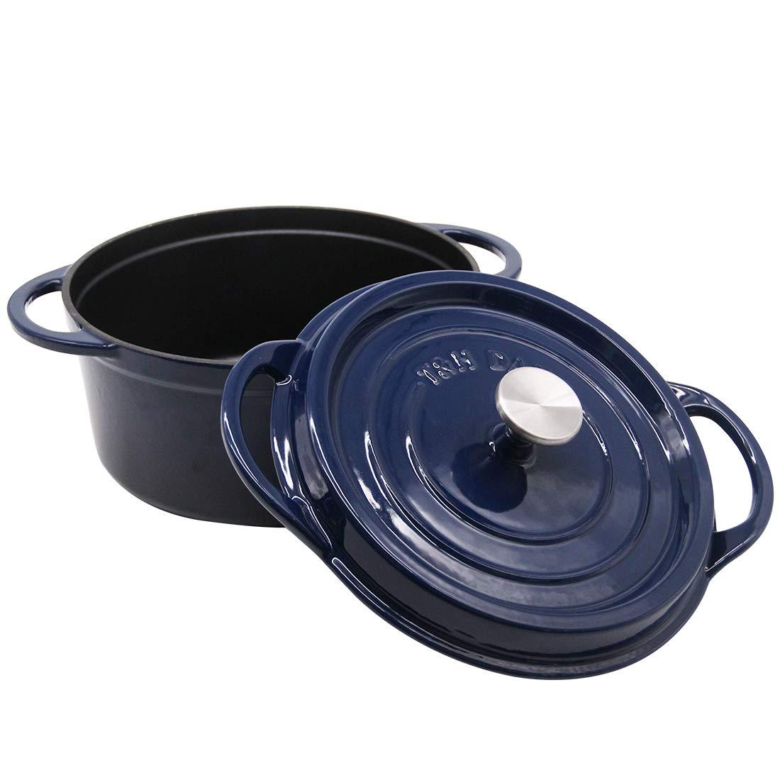 Cast Iron Dutch Oven Enameled Casserole Pot with Lid Ceramic Cookware 6 Quart Navy T&H Danc