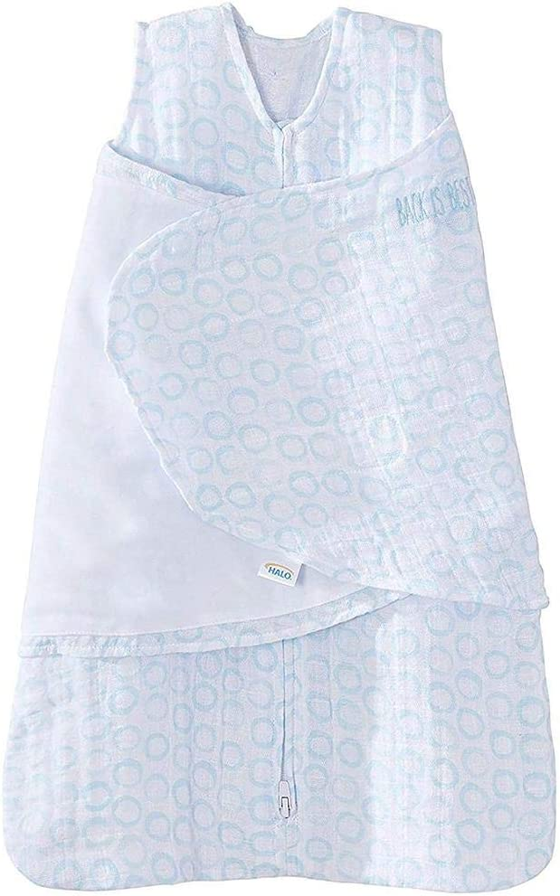 Halo Sleepsack Baby Swaddle 100/% Cotton Muslin-Newborn 0-3 Months-Grey Circles Print