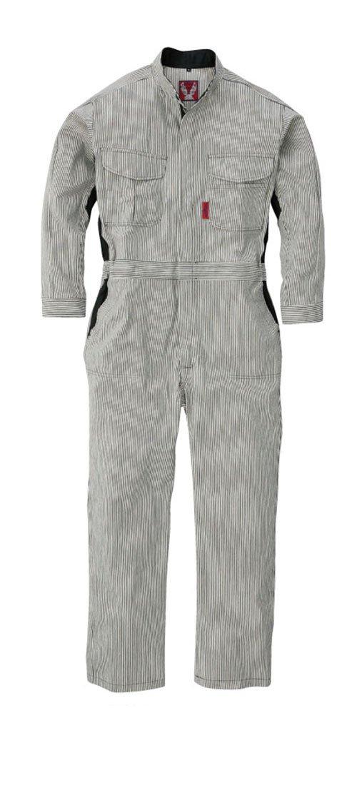 [丸鬼]ROUND ONI[ツナギ服] 通年 Vividなツートンアイテム 綿100パーセント 動きやすいアームフリー機能 ヒッコリーストライプの長袖続服(023-212) B01LZF6THG S|03-ブラック(ストライプ)