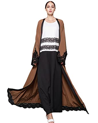 aa64ed345a Romacci Women Muslim Cardigan Spliced Crochet Lace Long Wide Sleeve Islamic  Abaya Maxi Dress Outwear Brown