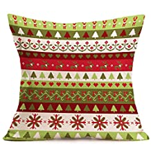 Auwer Merry Christmas Unique Embroidered Printing Cotton Linen Pillow Case Cushion Cover Sofa Waist Throw Bed Chair Pillowcase Festival Home Decoration 18'' (G)