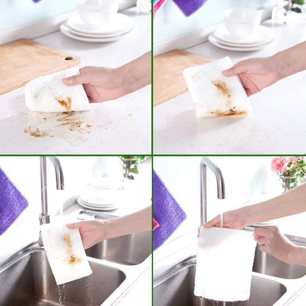 Mayouth Dish Towels Bamboo Fiber Dish Cloths Super Absorbent Kitchen Wash Cloth Dish Rags for Washing Dishes Fast Drying Cleaning Cloth (12-Pack) by Mayouth (Image #4)