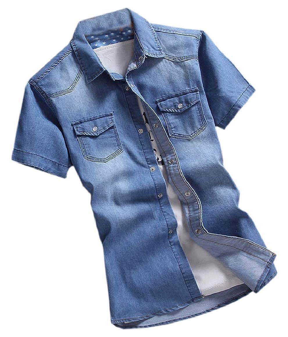 HTOOHTOOH Mens Short Sleeve Retro Button Collar Down Slim Denim Shirt