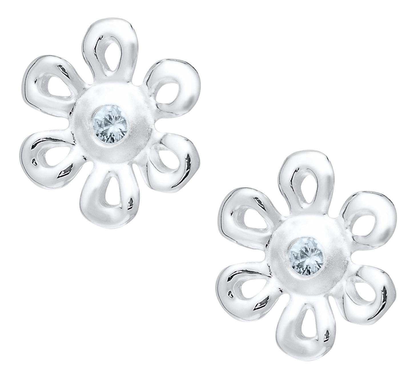 JAMBS JEWELRY STERLING FLOWER WITH DIAMOND EARRINGS FOR CHILDREN