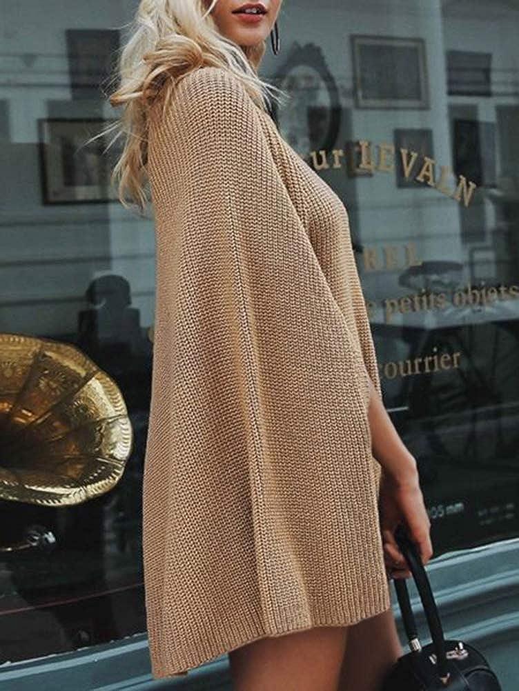 Minetom Femme Chandail /Él/égant Col Roul/é Haut Manche Longue Sweater Blouse Pull Chic Oversize Jumper Tricots Tops Pullover Automne Hiver Poncho Cape Manteau