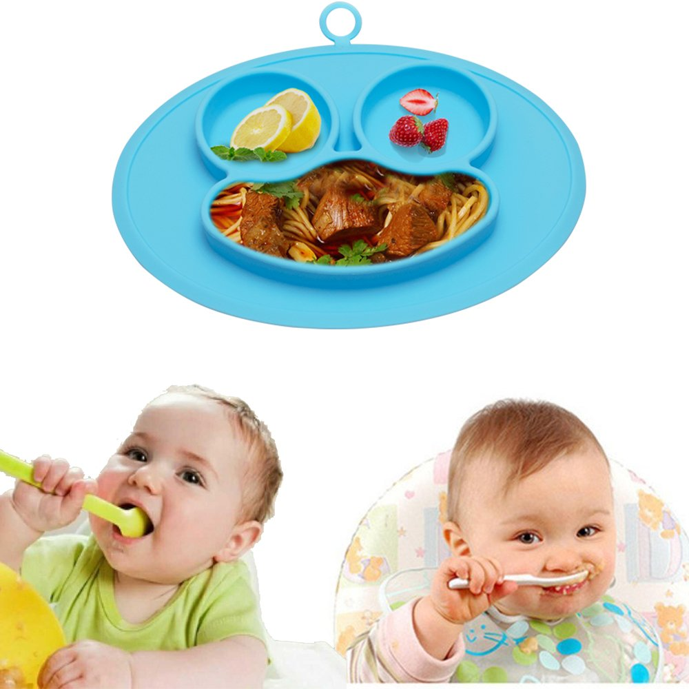 URSMART Baby Rice Plate Silicone Food Placemats Kids Suction to Dining Table Kitchen Dinnerware (blue) by URSMART (Image #6)