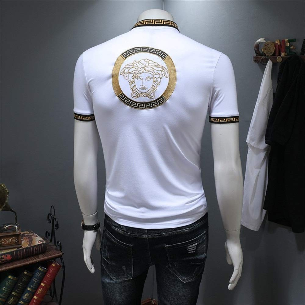 Color : White, Size : XXL Forgiven Slim top tee Mens Turn Down Collar Button Short Sleeve Cotton Shirts Slim Fit Casual Polo T-Shirt Baseball Tees Business Work Office Blouse Tops