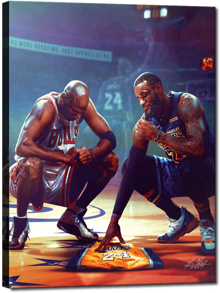 Kobe Bryant Michael Jordan Lebron James All Stars Basketball NBA Sports Posters HD Printed Pictures Stretched and Framed Artwork Modern Home Decor Canvas Painting Wall Art Living Room [18''W x 24''H]