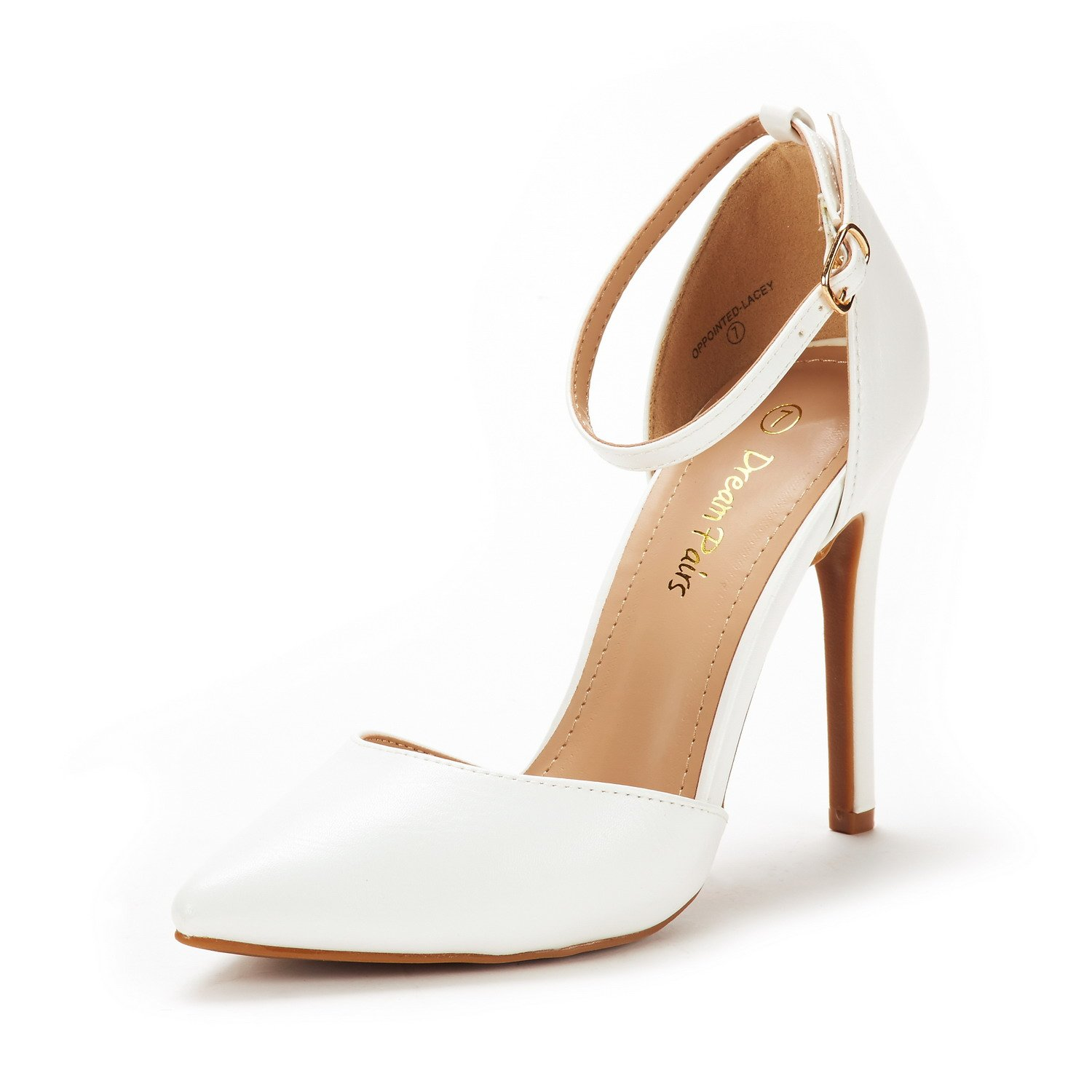 DREAM PAIRS Women's Oppointed-Lacey White Pu Fashion Dress High Heel Pointed Toe Wedding Pumps Shoes Size 7 M US