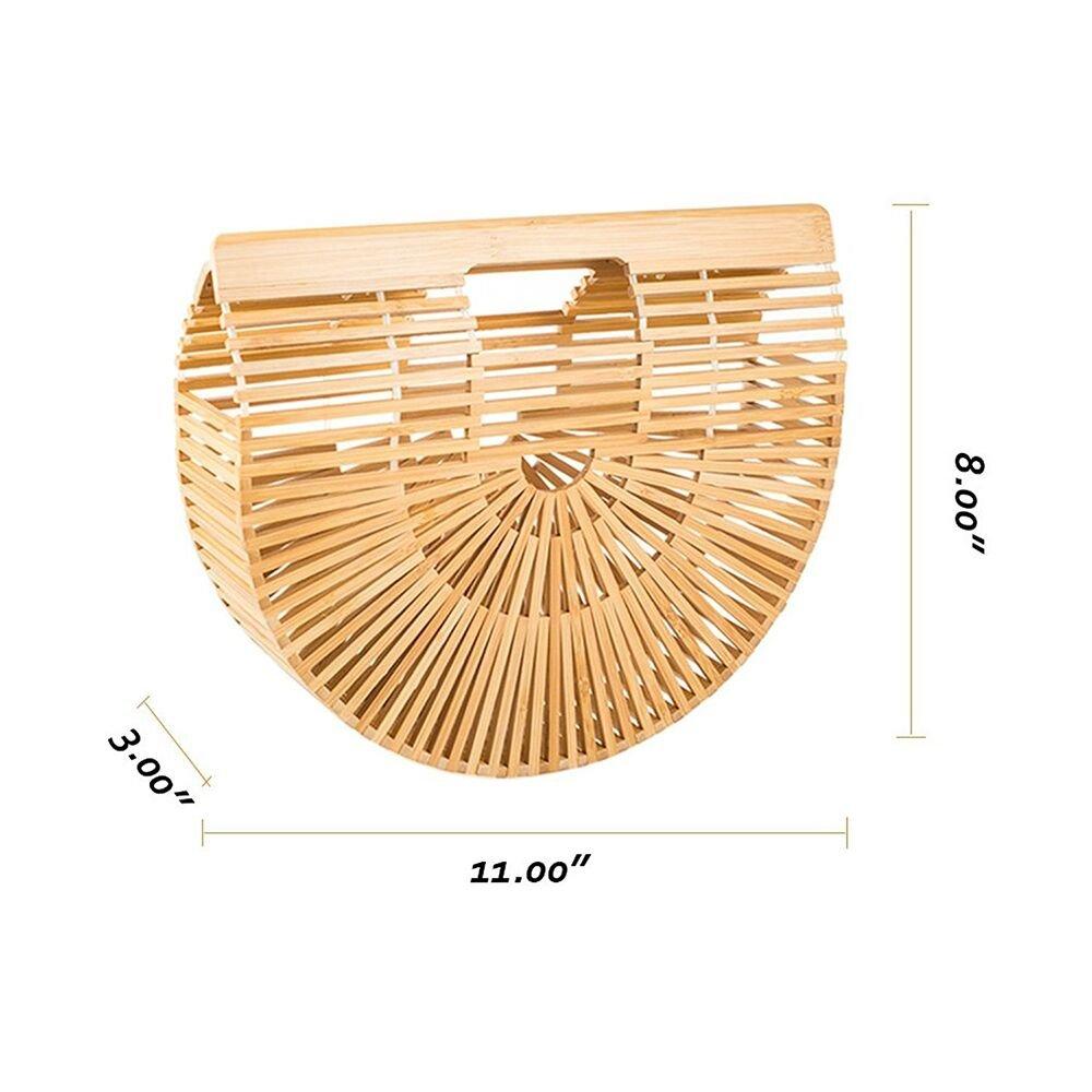 Bamboo Handbag Handmade Tote Bag Handle Bamboo Purse Straw Summer Beach Bag for Women (NBH-A01) by Noblesh (Image #4)