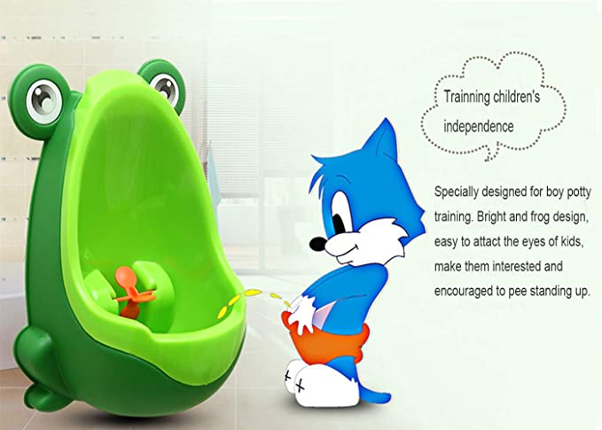 Green FABSELLER Frog Potty Training Urinal for Toddler Boys Toilet with Funny Aiming Target Children Kids Stand-Up Frog Toilet Pee Trainer