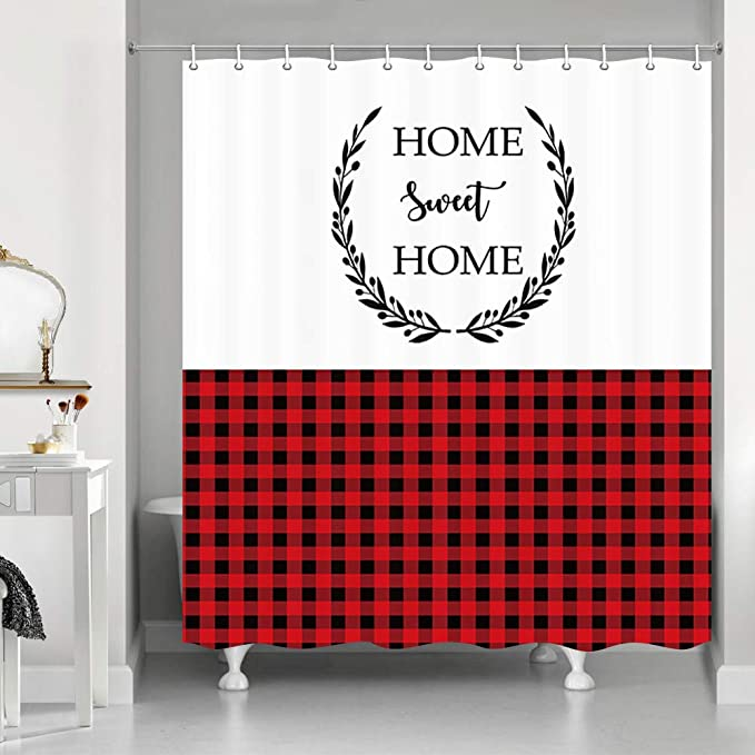 69 WX70 H NYMB Red Black Buffalo Check Plaids Scottish Bear Family Shower Curtain for Bathroom Farmhouse Animals Bear with Moose in Mountains Fir Trees on Striped and Checkered Shower Curtain,