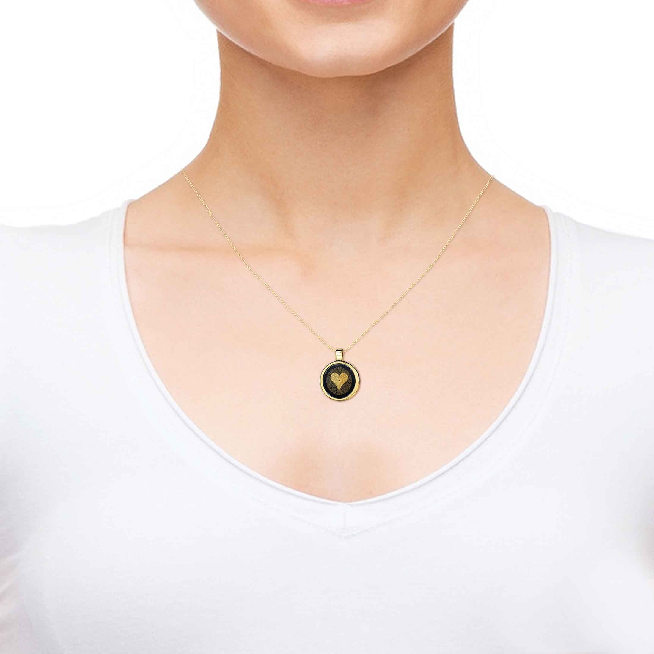 14k Yellow Gold I Love You Necklace 24k Gold Inscribed 120 Languages Onyx Pendant, 18'' Gold Filled Chain by Nano Jewelry (Image #4)