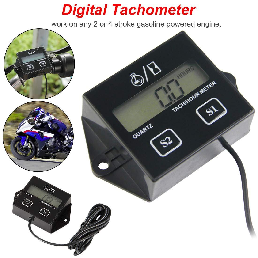 Digital Engine Tach Hour Meter Tachometer Gauge Inductive Display For Motorcycle Motor Marine Boat