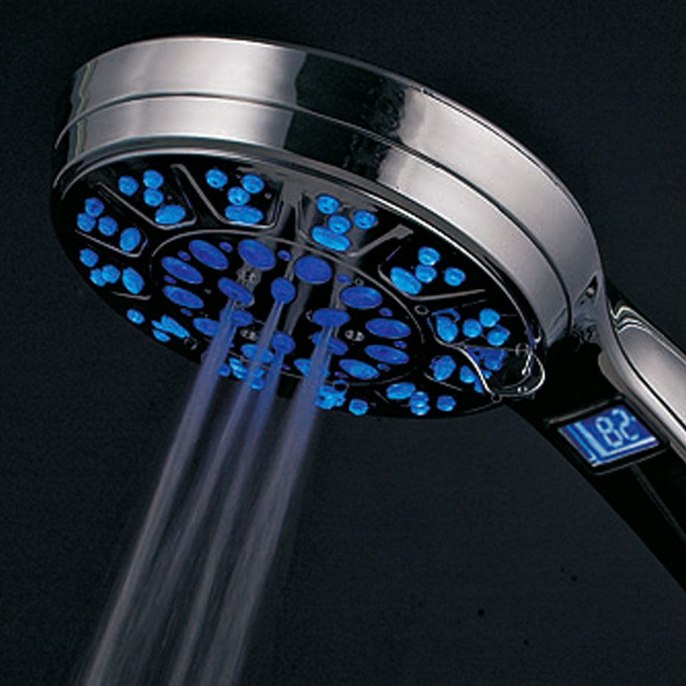 HotelSpa All Chrome 5 Setting LED/LCD Handheld Shower-Head with ...