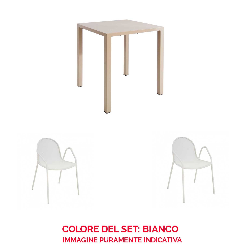 EMU Juego Mesa Nova 80 x 80 + 2 sillones Nova Blanco: Amazon ...