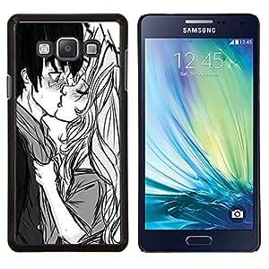 Be-Star Único Patrón Plástico Duro Fundas Cover Cubre Hard Case Cover Para Samsung Galaxy A7 / SM-A700 ( Baiser Garçon Fille Surprise Amour Couple Art Dessin )
