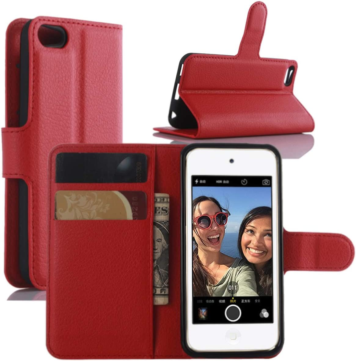 HualuBro iPod Touch 7 Case, Premium PU Leather Wallet Flip Folio Shockproof Phone Case Cover with [Kickstand] [Card Slots] [Magnetic Closure] for Apple iPod Touch 7th Generation 2019 (Red)