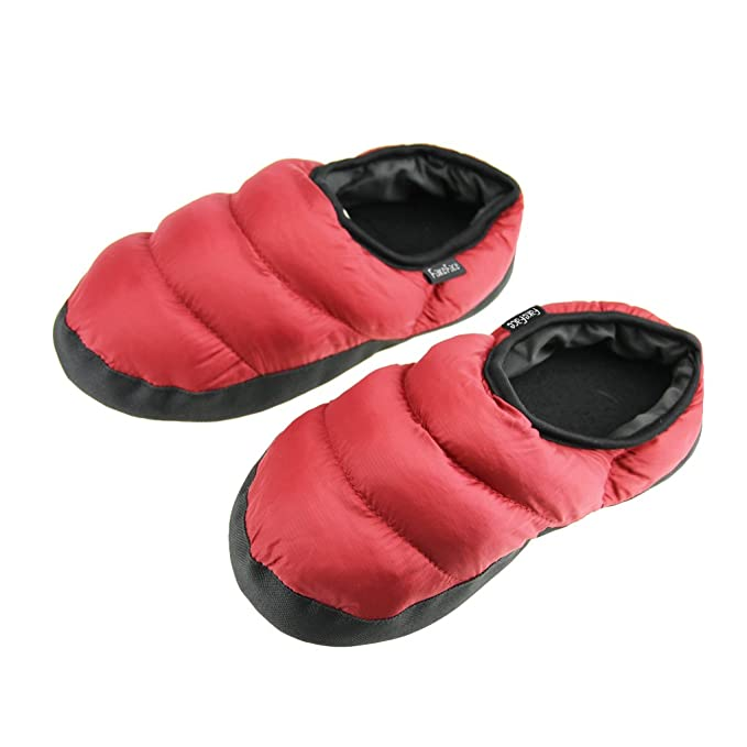 67ba960d8a017 Homme femme Pantoufles D intérieur Pantoufle Chaleureux Chausson Hiver  Imperméable Antidérapante Chaussures Doux en Peluche Confortable et Léger -  Rouge ...